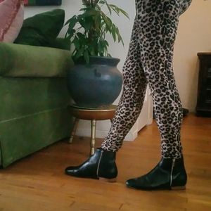 Loeffler  Randall Astrid Black Leather Boots 8.5